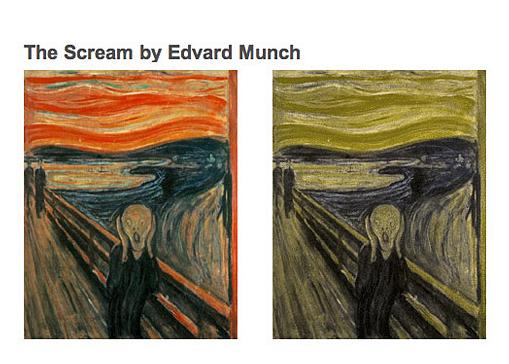 """Le tableau """"Le cri"""" vu par un daltonien (à droite)"""