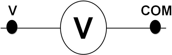 Symbole d'un voltmètre