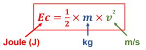 Formule de l'énergie cinétique