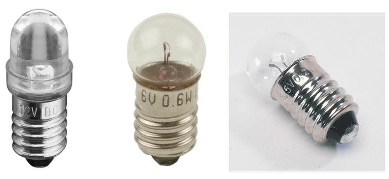 Lampes de différentes tensions nominales